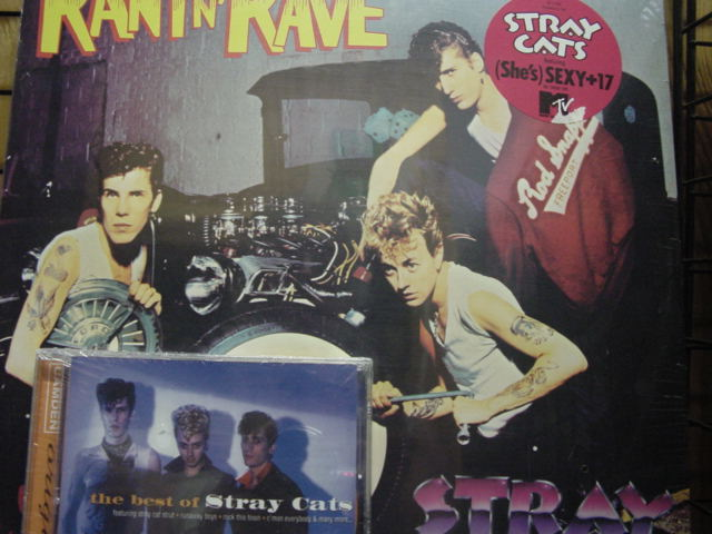 """The Stray Cats, 3 Titles of 2 LPs & 1 CD - Rant N Rave, Built For Speed &  Bonus - Best of Stray Cats CD"" - Product Image"